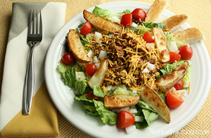 Cheeseburger Salad with Oven-Roasted Potatoes from Two Healthy ...