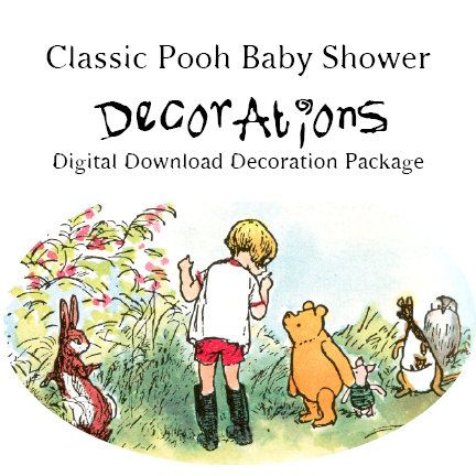 classic winnie the pooh baby shower banner by laartistasamantha on