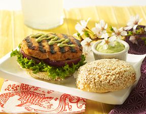 ... up these mouthwatering Asian Sesame Salmon Burgers with Wasabi Mayo