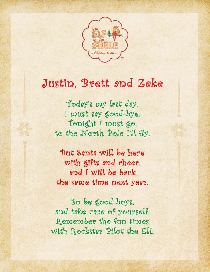 Elf on the Shelf Day 24: Goodbye poem.   Christmas   Pinterest