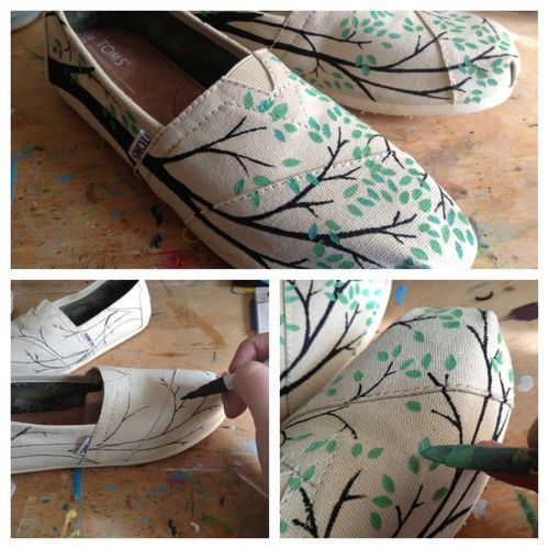 diy hand painted toms shoes, branches, leaves