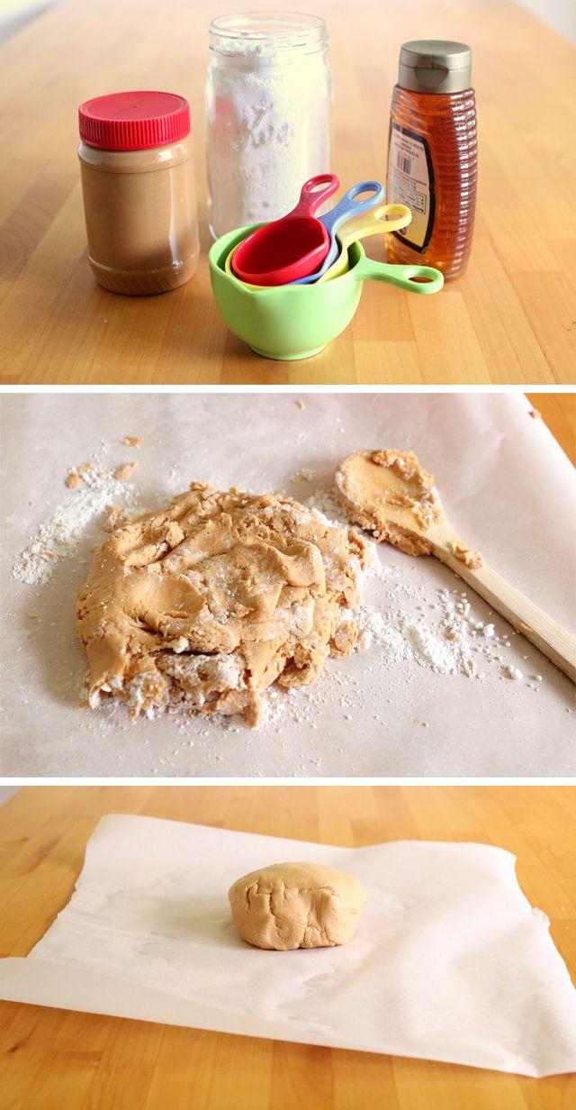 Homemade edible peanut butter play dough