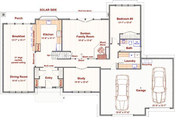 4 bedroom with passive solar design for Passive solar home designs floor plans