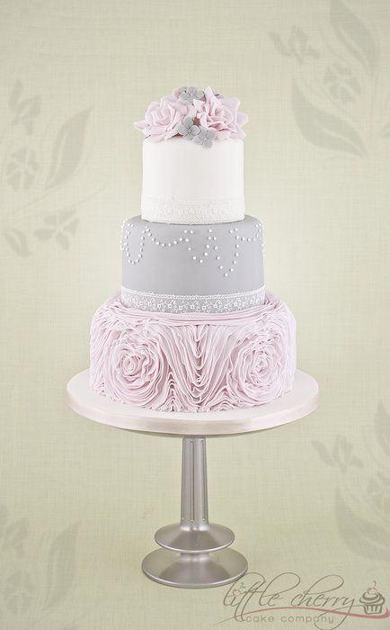 Pink and Gray Loveliness Ruffle Wedding Cake ~ Gorgeous and all edible!