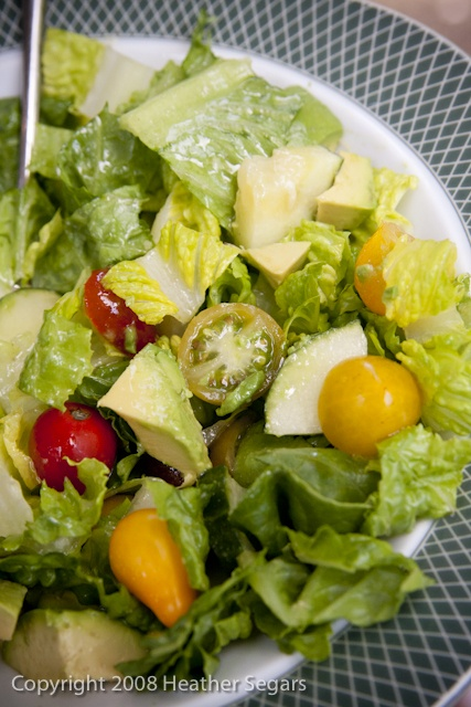 Heirloom Tomato, Cucumber and Avocado Salad with a Lemon Vinaigrette