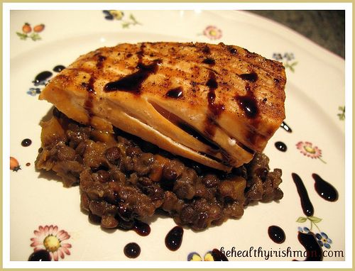 grilled salmon with orange balsamic reduction over braised lentils
