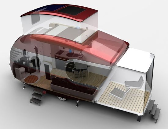Bob Villa designed trailer.  Nice idea with the pop up roof for sleeping and the slide out 'porch'.