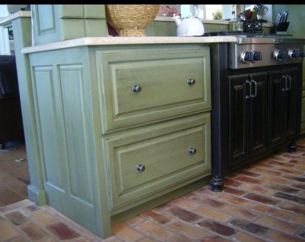 Custom kitchen cabinetry and island Finish Cabinets  custom green
