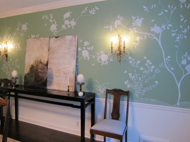 Mrs blandings dining room how to wallpaper and murals for B q dining room wallpaper
