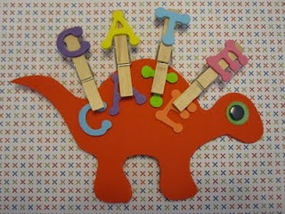 Name Stegosaurus. Simple fine motor activity to practice spelling your name.