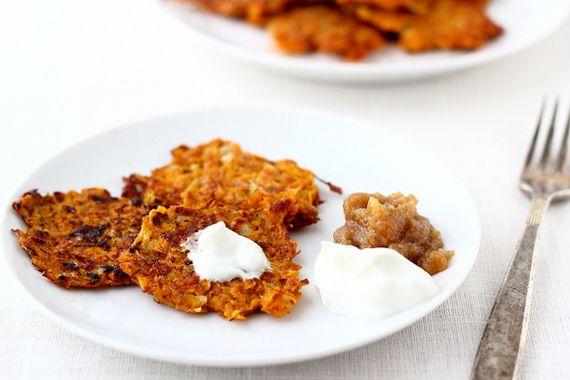 Can I say nom nom? Spiced Sweet Potato Latkes With Yogurt