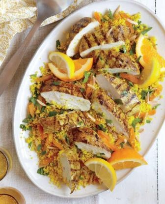 Apricot Almond Couscous With Chicken. Adapt to be vegetarian.