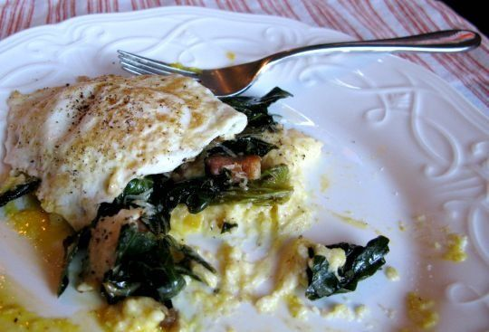 Fried eggs and collard greens over polenta. This was tonight's dinner ...