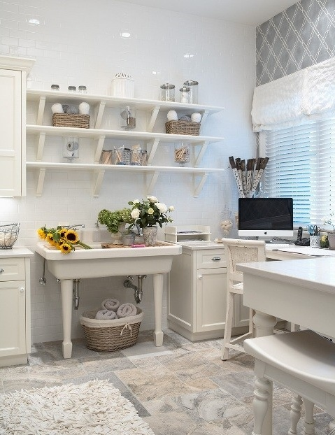 Cool pedistal and open shelving laundry room concepts for Open shelving laundry room