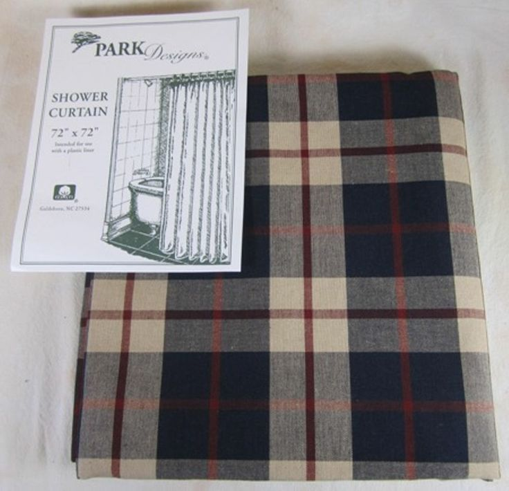 Country Navy Barn Red Tan Plaid Freedom Cotton Cloth Shower Curtain 7