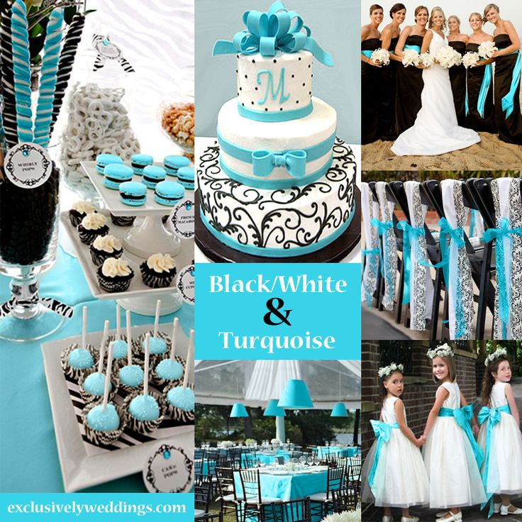 Black, White and Turquoise Wedding | #exclusivelyweddings @Carly k. Thibault Yager this is what your wedding will look like: nlue everywhere! lol