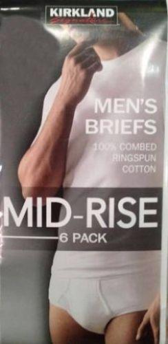 Pack mens kirkland mid rise briefs brief 100 cotton white size 40