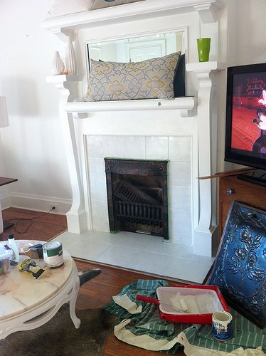 How To Paint A Tile Fireplace Surround Future Projects