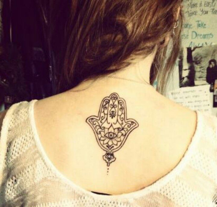 Lower back neck tattoo hand of fatima ink piercings for Hand of fatima tattoo
