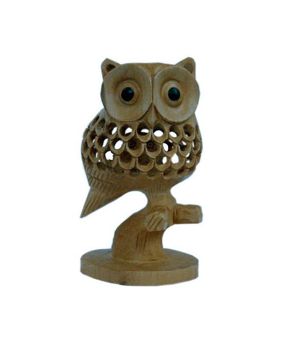 Home Decor Wooden Owl Good Luck Sign Wood Decor Carved