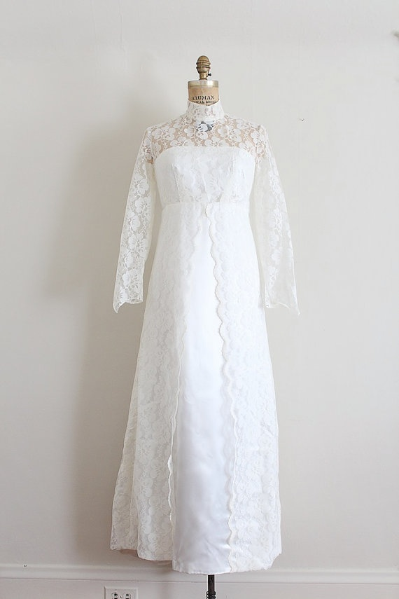 Vintage 1960s wedding gown 60s lace wedding dress for Vintage wedding dress 60s