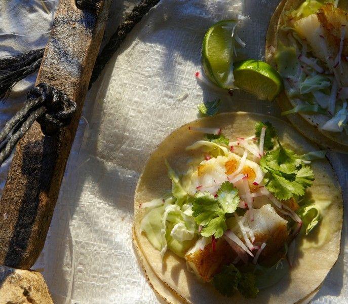 Fish tacos w/ cilantro lime mayo