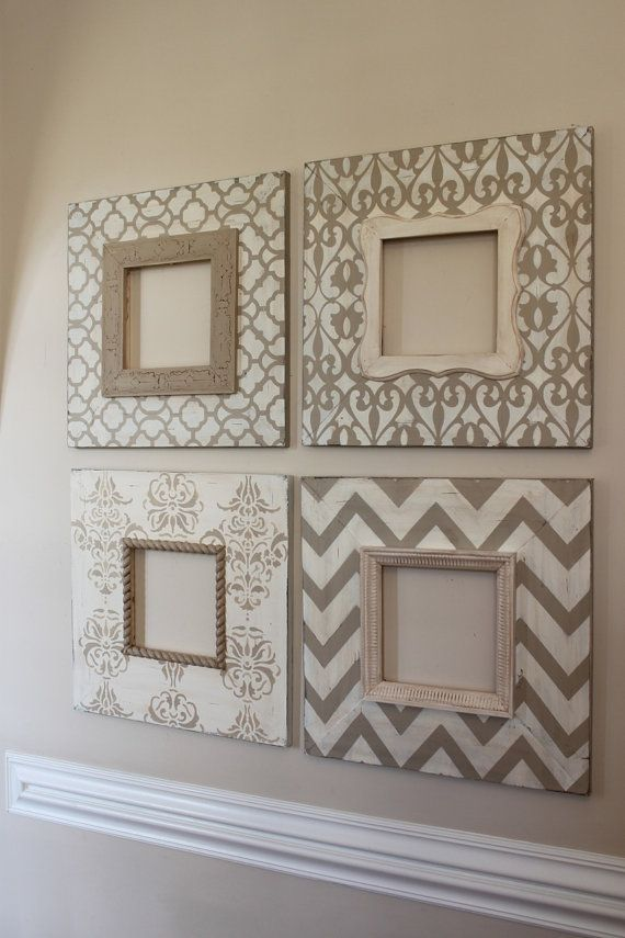 Frames  Could use scrapbook paper and mod podge to wood, then glue picture frame on top.
