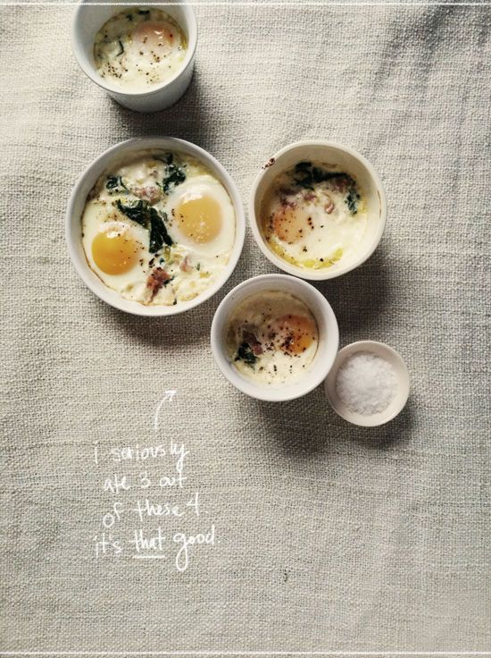 baked eggs with spinach and prosciutto too complicated and fattening ...