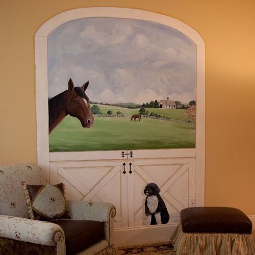 Horse stable door mural 2017 grasscloth wallpaper for Equestrian wall mural