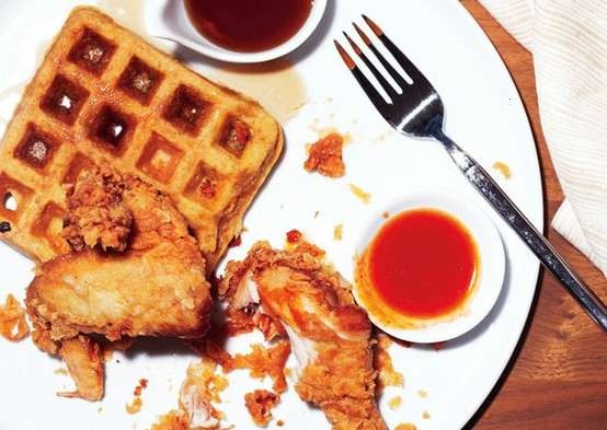 BUTTERMILK FRIED CHICKEN AND SWEET POTATO WAFFLES