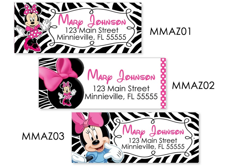 Minnie Mouse Return Address Labels - Pink And Black Zebra Print Address Labels - The Print Shoppe
