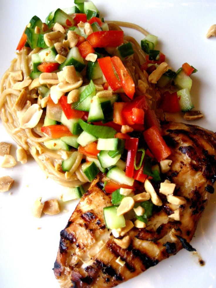 Spicy Chicken Peanut Lime Noodles with chicken