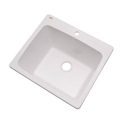 Drop In Laundry Sink For 24 Inch Cabinet : ... Stone Composite 25x22x13 in. 1-Hole Single Bowl Utility Sink in White