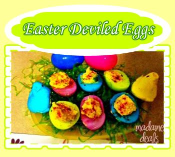 Colorful Easter Deviled Eggs #easter http://madamedeals.com/easter-deviled-eggs/