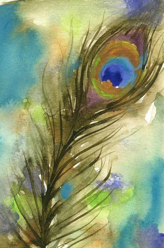 Peacock feather painting bird art feather by for Painting feathers on canvas