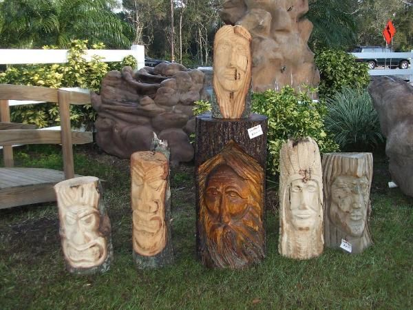 Faces chain saw carving home pinterest