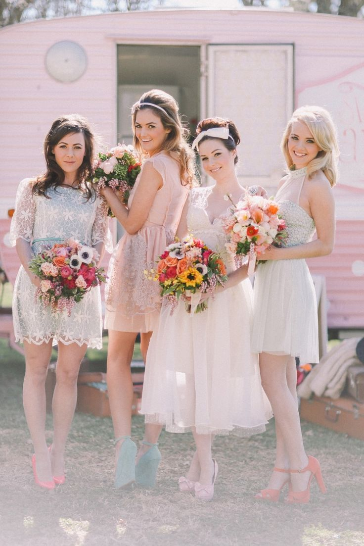 Styled Shoot: Whimsical Bride + Bridesmaids! When having fun and creating a personality filled day is or the utmost importance!  On SMP: http://www.stylemepretty.com/australia-weddings/2013/11/27/spring-sydney-photoshoot-from-chanele-rose-flowers-styling-jenny-sun-photography/ | Photography: Jenny Sun Photography