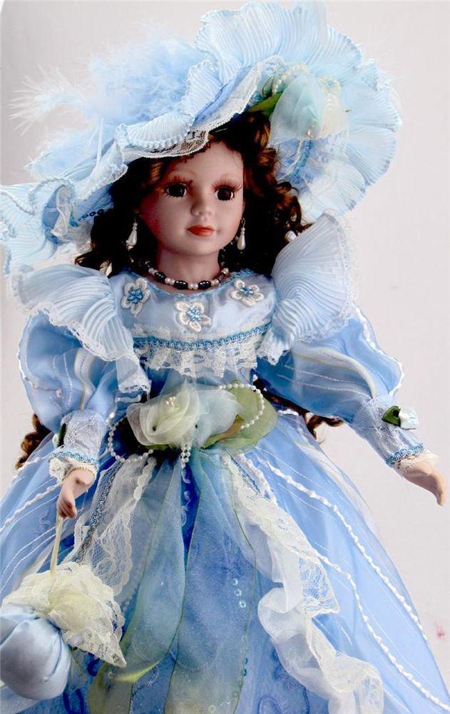 collectible porcelain victorian princess doll blue dress