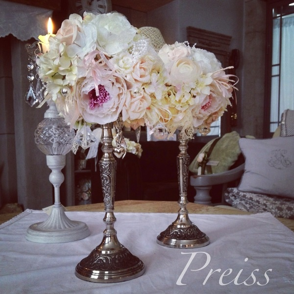 2 x Shabby chic wedding decoration with antique silver stand.     This flower decoration/flower balls are done in white, light pink and cream.  Dec...