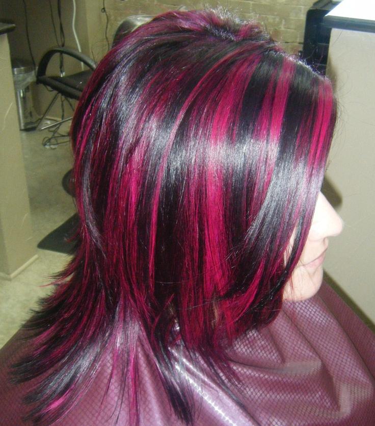 Magenta highlights | Hair highlights | Pinterest
