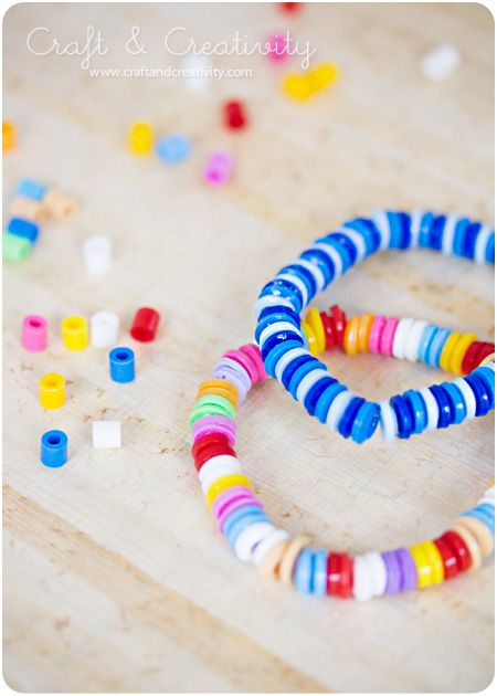 faux candy beads using melted perler beads.