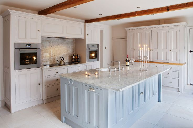 Contemporary kitchen in Farrow & Ball Elephant's Breath and Manor House Gray