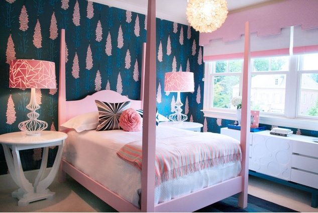 Love the wallpaper, cornice, the roman shades with the band and the pink bed
