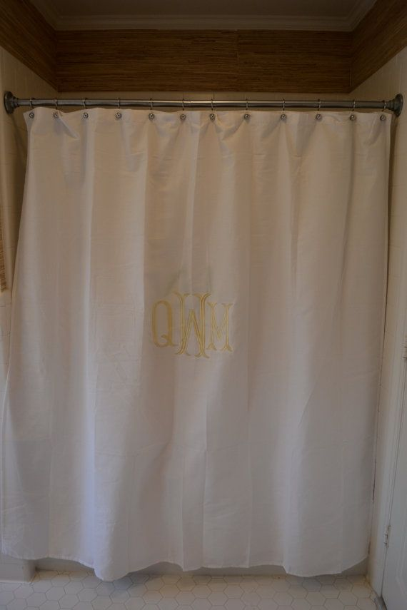 Neutral Custom Monogrammed Shower Curtain by lilandgaines on Etsy
