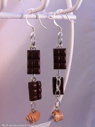 Kawaii cute Chocolate Bars & Cinnamon Rolls Sticky Bun earrings ...