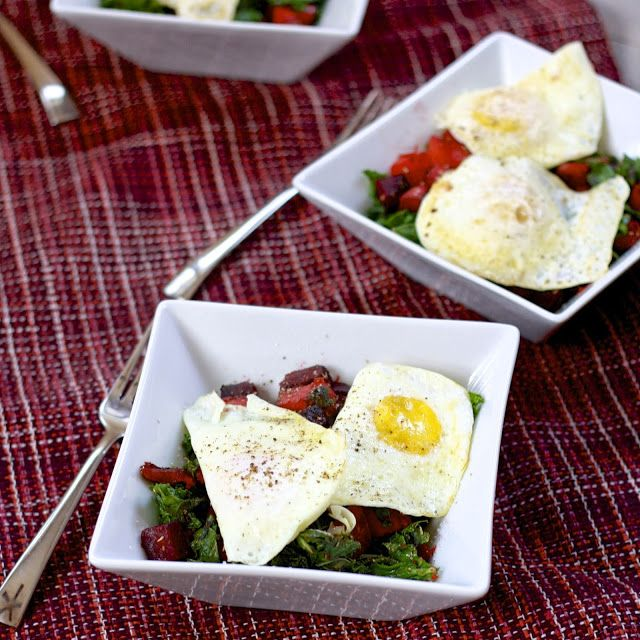 winter vegetable hash with fried eggs | eggs | Pinterest