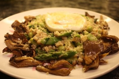 Asparagus and Edamame Farro Risotto with Oyster Mushrooms and Poached ...