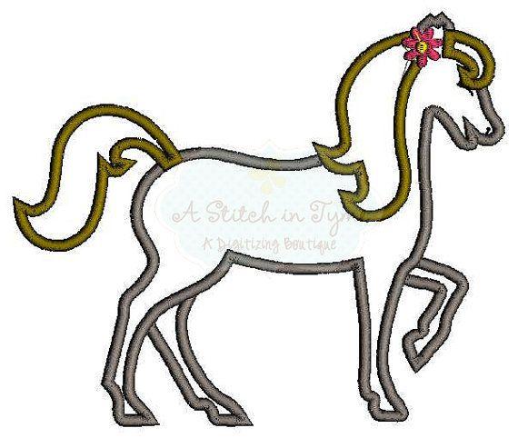 Girl walking horse machine applique embroidery design