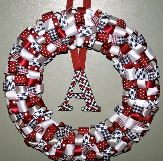 Alabama ribbon wreath maroon houndstooth by ForHisGlorybyLeilani, $35.00