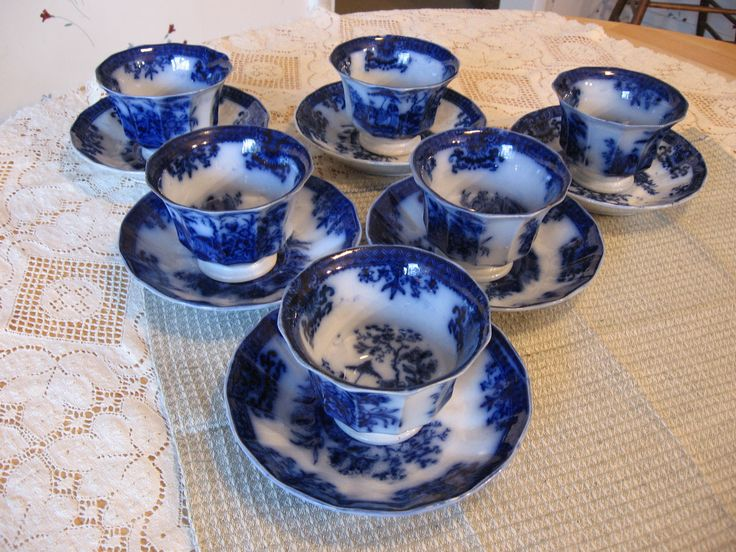 ~ Flow Blue Cups and Saucers ~
